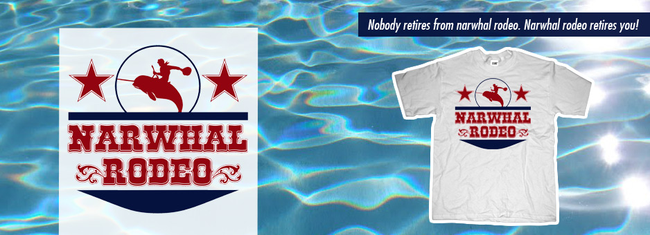 Narwhal rodeo vintage sign banner